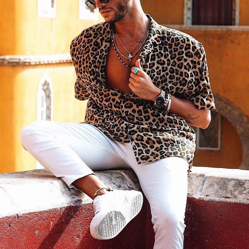 2019 Summer Men's Baggy Beach Leopard Print Short Sleeve Button Retro Shirts Tops Blouse Camisa Masculina Hawaiian Shirt