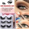 3 Pairs Magnetic Eyelashes With 1Pc Magnetic Eyeliner and Eyelashes Tweezer 4