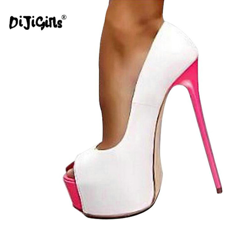 ae071996f4c Dijigirls Women High Heel Pumps 2018 Fashion Platform Woman Dress Sexy  Ladies Peep Toe Women Shoes Size 34-40 Black White