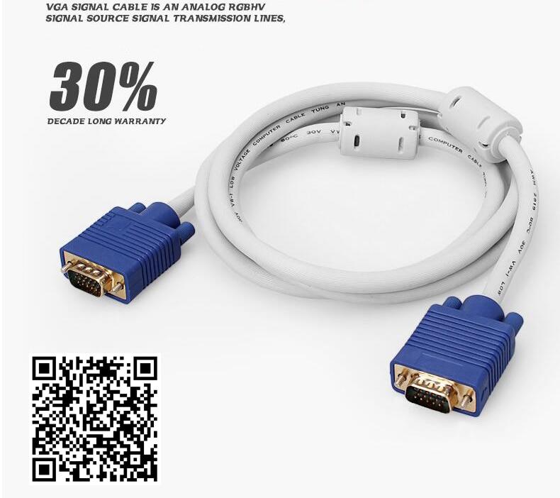 VGA HD Data PC TV Projector HD Male Cable video projection line 3+6VGA 10 15m
