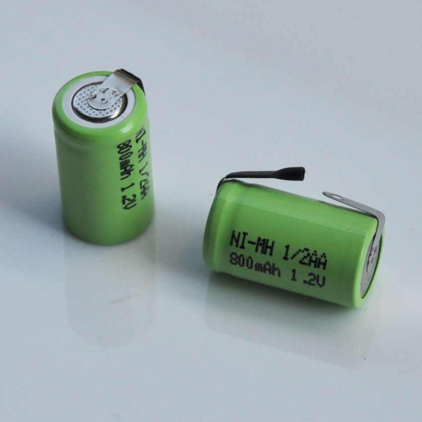 2-10 шт. 1,2 В 1/2AA аккумуляторная батарея 800 мАч 1/2 AA Ni-MH nimh ячейки со сваркой вкладки для электрических бритвенный станок Солнечный свет