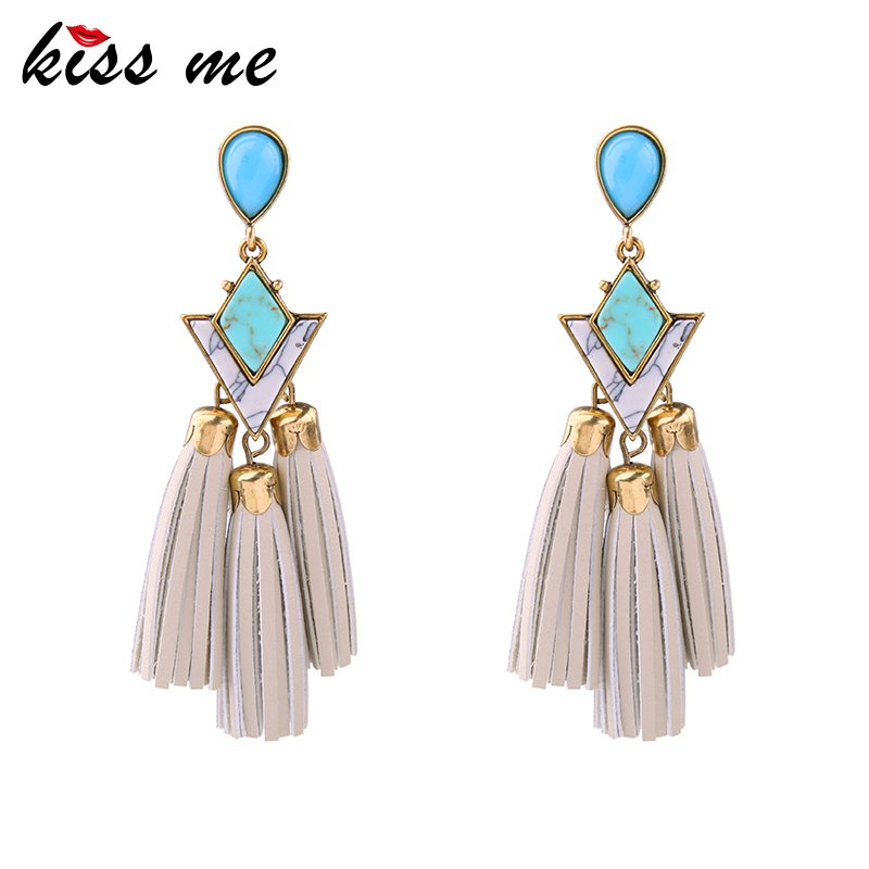 KISS ME Ethnic Jewelry New Brand Imitation Leather Tassel Earrings Gold Color Women Big Earrings