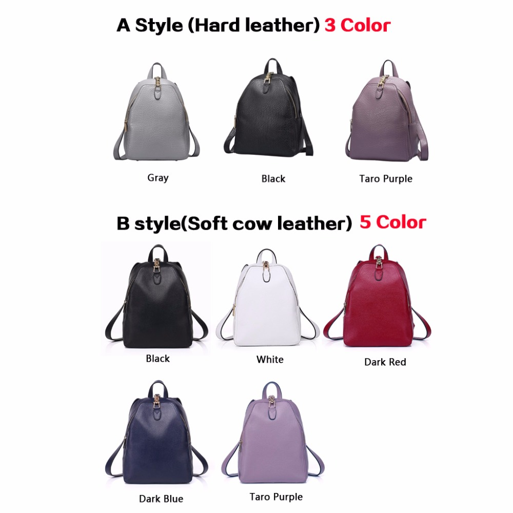 Genuine Leather Woman Backpack Color Dark Blue