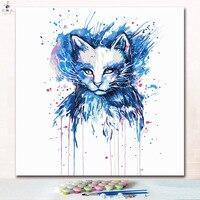 Aquarell bunte Tinte katze kopf malerei durch zahlen mit farben für digitale gemälde farbe durch zahlen auf leinwand für kinder-in Malen nach Zahlen aus Heim und Garten bei