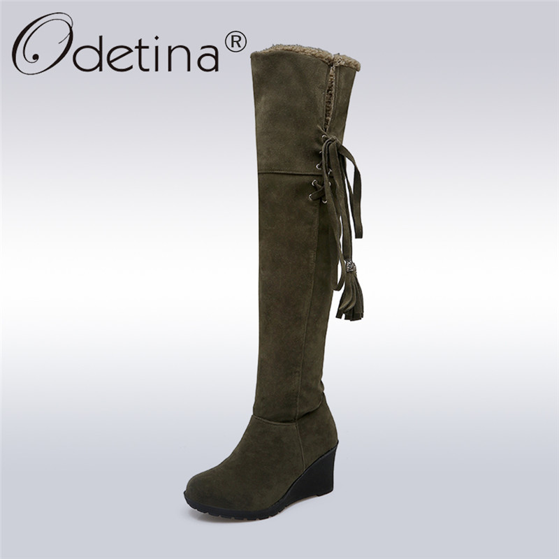 Odetina 2017 New Fashion Tassels Women Over The Knee Boots Wedge Heel Thigh High Boots Snow Shoes Winter Warm Plush Big Size 44 nayiduyun new thigh high shoes women wedge slip on over the knee boots high heel punk sneaker oxfords platform riding greepers