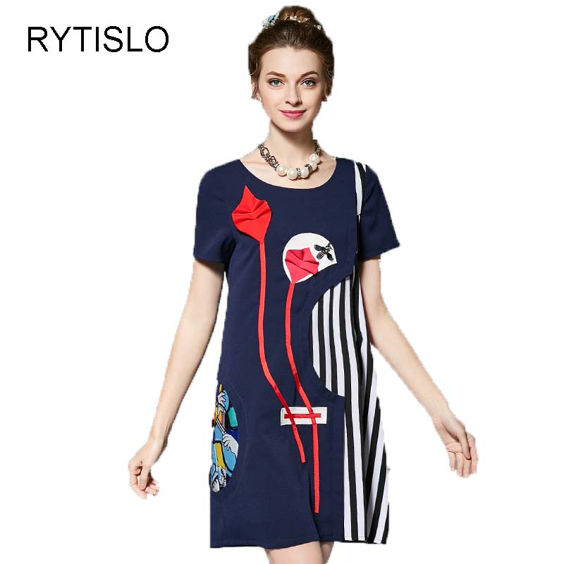 RYTISLO New Fashion Women's High Quality Dress Patchwork Stripes Sequin Beading Casual Loose Female Short Sleeve Blue Dress