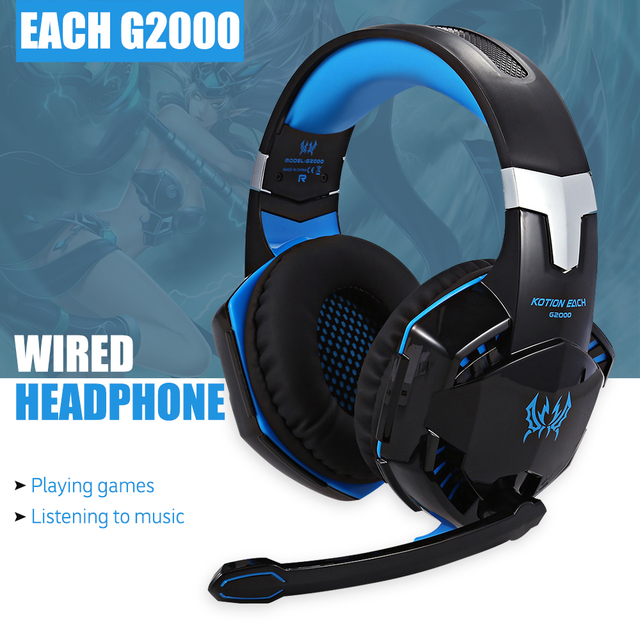 Original EACH G2000 Gaming Headset Stereo Sound 2.2m Wired Headphone with Mic  Noise Cancelling LED Light for Computer PC Gamer