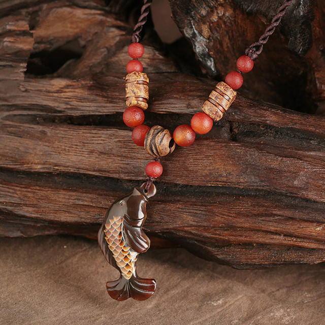 Vintage Pendant Necklace for Woman long fish necklace horn sculpture pendant red stone accessories necklace Stone Jewelry gift