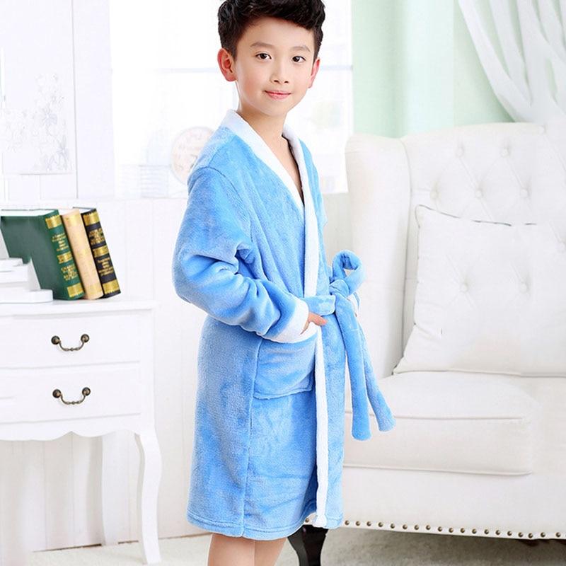 Dropwow Winter Kids Bathrobe Fleece Robes For Boys Solid Girls ... b2f96fb5f