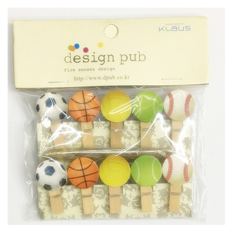 10Pcs/Set Cartoon Sport Basketball Football Wooden Clip Photo Clothespin Craft Clips Party Decoration Clip With Hemp Rope