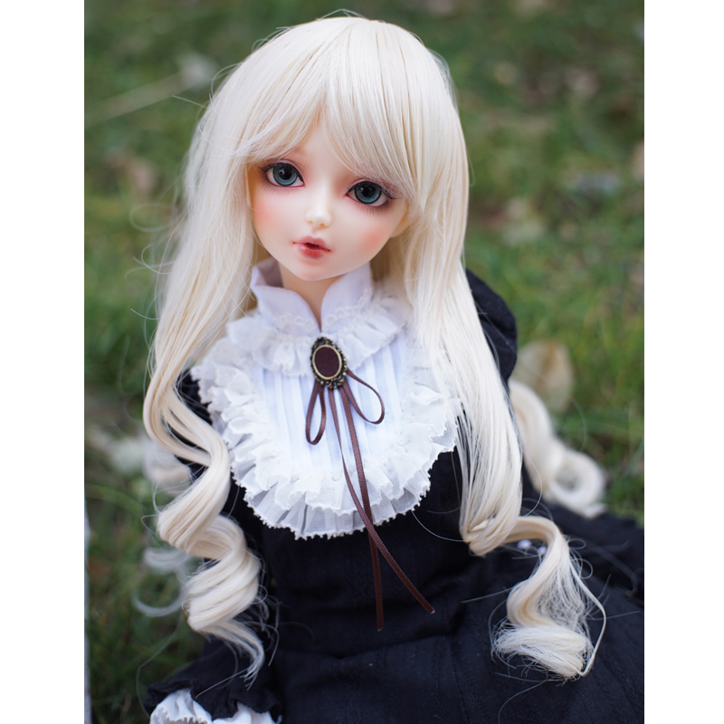 Bjd 1:3 SD Doll Wig Light Blonde Color Roman Big Wave Hair Suit for Doll Head of 22-24cm