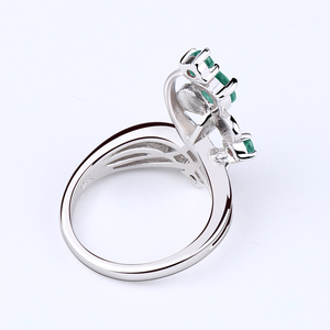 Image 4 - Gems Ballet 0.97Ct Natural Green Agate Gemstone Ring Solid 925 Sterling Silver Flower Ring For Women Wedding Fine Jewelry