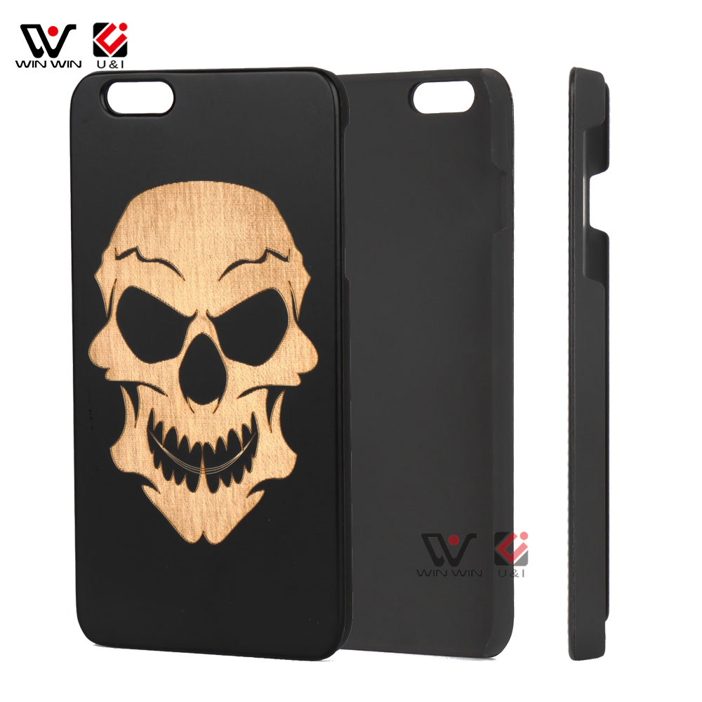 U&I Wooden Phone Cases For Arsenal Anti-knock Black Bamboo Cover For iPhone 6 6plus 6s 6splus 7 7plus Case For Skull Head
