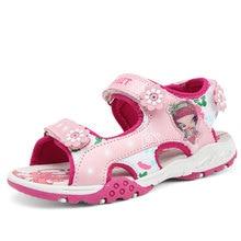 여자 샌들 여름 새로운 스타일 어린이 신발 여자 패션 컷 아웃 샌들 어린이 캔버스 비 샌들 통기성 신발 신발
