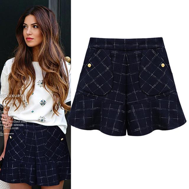 Plaid Shorts mujeres nueva primavera de cintura alta pierna ancha Culottes ocasionales femeninos de lana otoño Corto Pantalon Mujer 2016