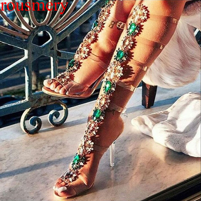 Girl's Summer Multi Rhinestone PVC Sandals Boots Hollow out Shining Transparent High Heels Buckle Crystal Long Sandalias Botas lcx 2017 summer pvc hollow out sandals glitter flat stock the bird nest hole wholesale or retail