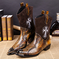 Sipriks Luxury Mens Pointed Toe Boots Unique Men Cowboy Boots Imported Leather Italian Boots Men Steel Toe Rivets Safety Boots