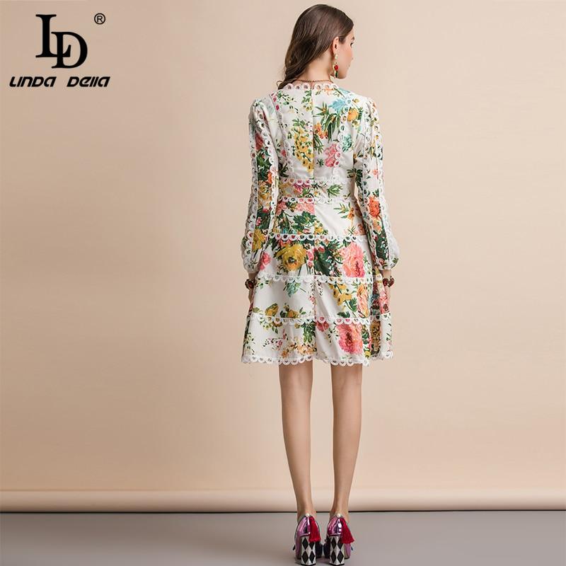 LD LINDA DELLA Herfst Fashion Runway Casual Vakantie Jurk vrouwen V hals Elegante Bloemenprint Ruches EEN Lijn Lange mouw Jurk-in Jurken van Dames Kleding op  Groep 3