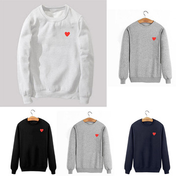 2019 Autumn and Winter New Sweatshirts Embroidered Red Love Peach Men and Women Plus Collar Cashmere Sweatshirts