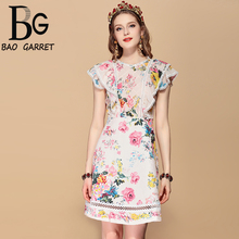 Baogarret Fashion Runway Summer Dress Womens Ruffles Sleeve Lace Patchwork Casual Floral Print Holiday Party Elegant