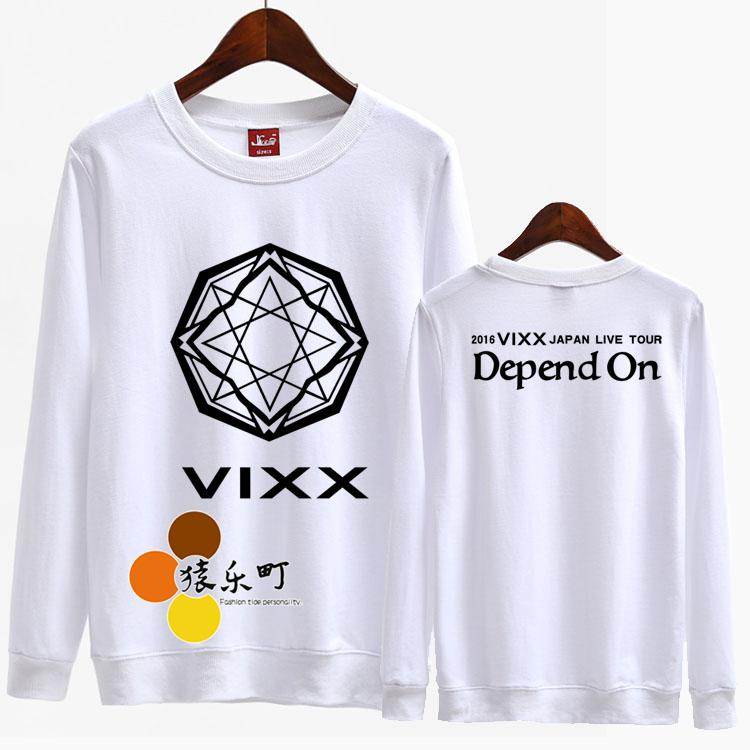 Kpop vixx japan live tour depend on printing o neck sweatshirt for men women fashion pullover hoodies sudaderas mujer