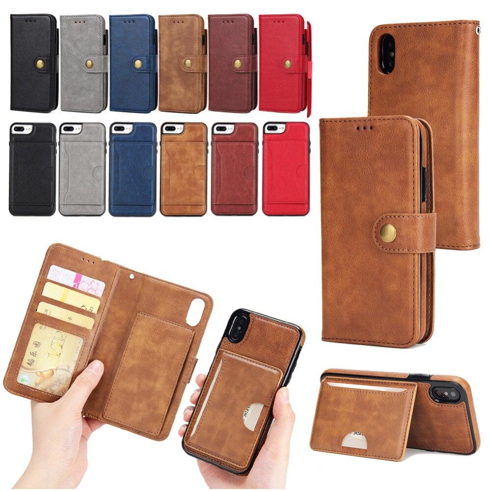 Прочный искусственная кожа флип Бумажник чехол для Apple IPhone X Телефон Чехол Съемный 2-в-1 Магнитная подставка крышка с держателей карт