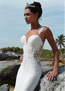 Image 4 - Glamorous Sweetheart Neckline Mermaid Wedding Dress With Beaded Lace Appliques Spaghetti Straps Beach Bridal Dress