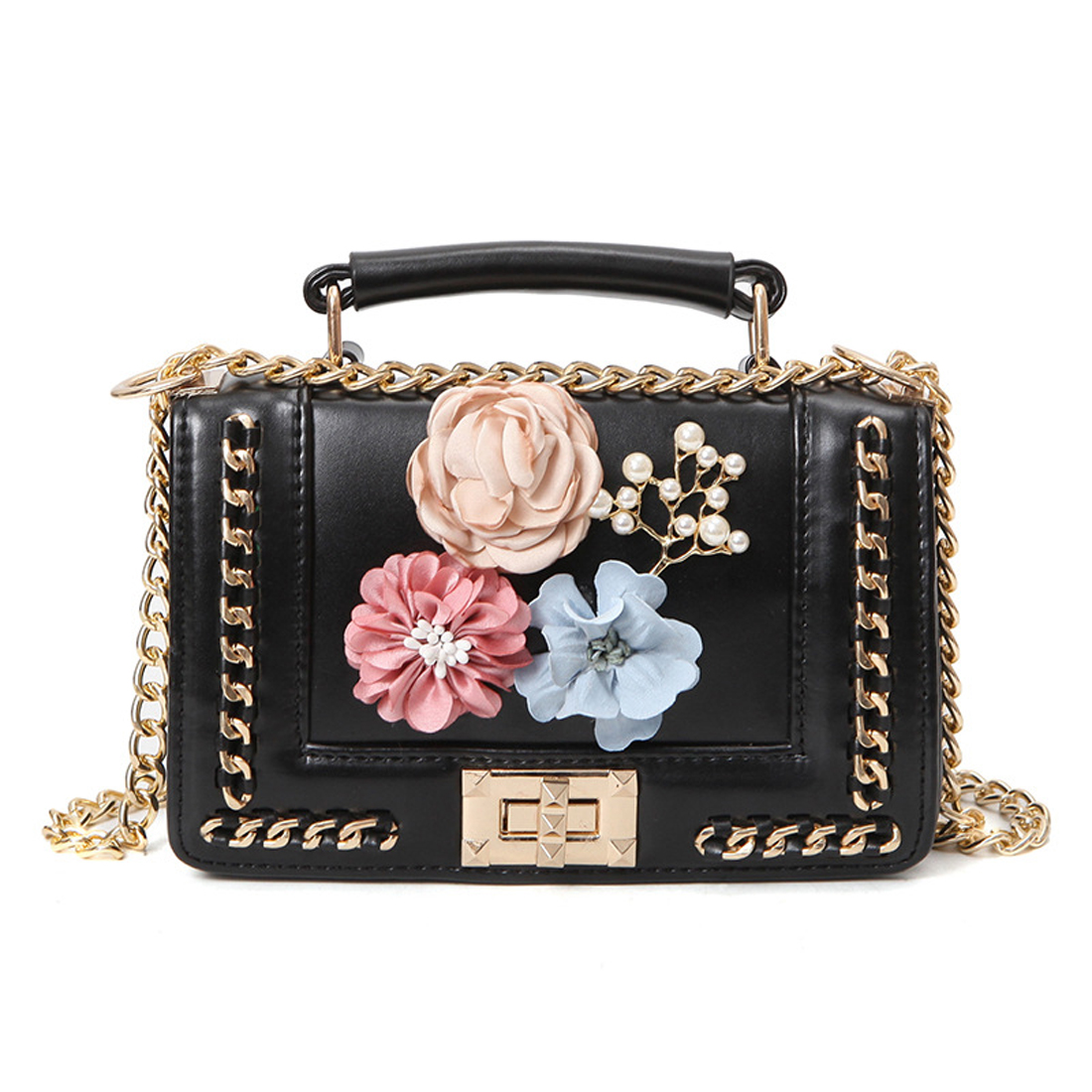 f0fa0176f043 Fashion Bead beach bag flower chain shoulder bags luxury handbag women bag  designer Crossbody bags for women 2018 sac a main