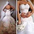 Romântico de rendas sereia vestido de noiva 2016 VintageTiers Plus Size vestido de noiva Sexy querida Backless vestido de noiva