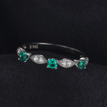 3 stones Round Created Emerald Engagement Wedding Rings For Women Genuine 925 Sterling Silver Fashion Fine Jewelry