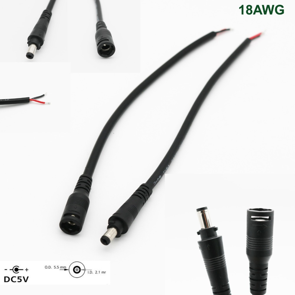 DC Power Socket Plug 5.5mm X 2.1mm Male + Female Connector Cable Cord Wire With Lock CCTV LED Strip 18AWG 10A