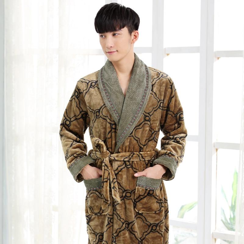 New Arrival Winter Autumn Casual Cotton Satin Silk Male Nightwear Men Bathrobe Belt Elegant Bathroom Spa Thick Flannel Men Robe