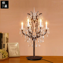 American country retro Restaurant Bar Hotel Villa living room bedroom study counter bar iron crystal desk lamp(China)