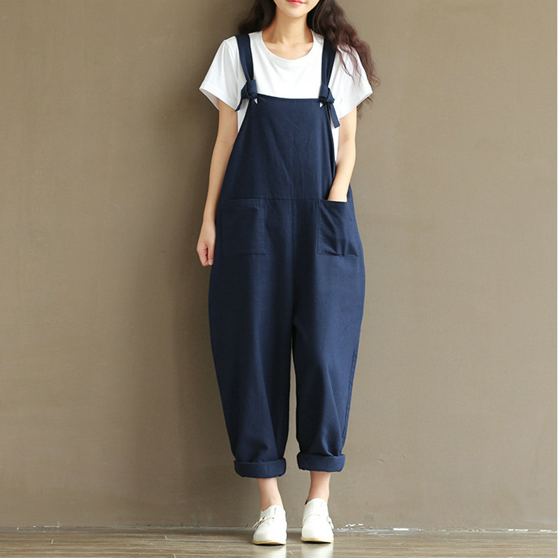 3c8f929f29a Autumn Womens Cotton Linen Overalls Navy Blue Solid Jumpsuits Street Casual  Pocket Sleeveless Pant Spring-in Jumpsuits from Women s Clothing    Accessories