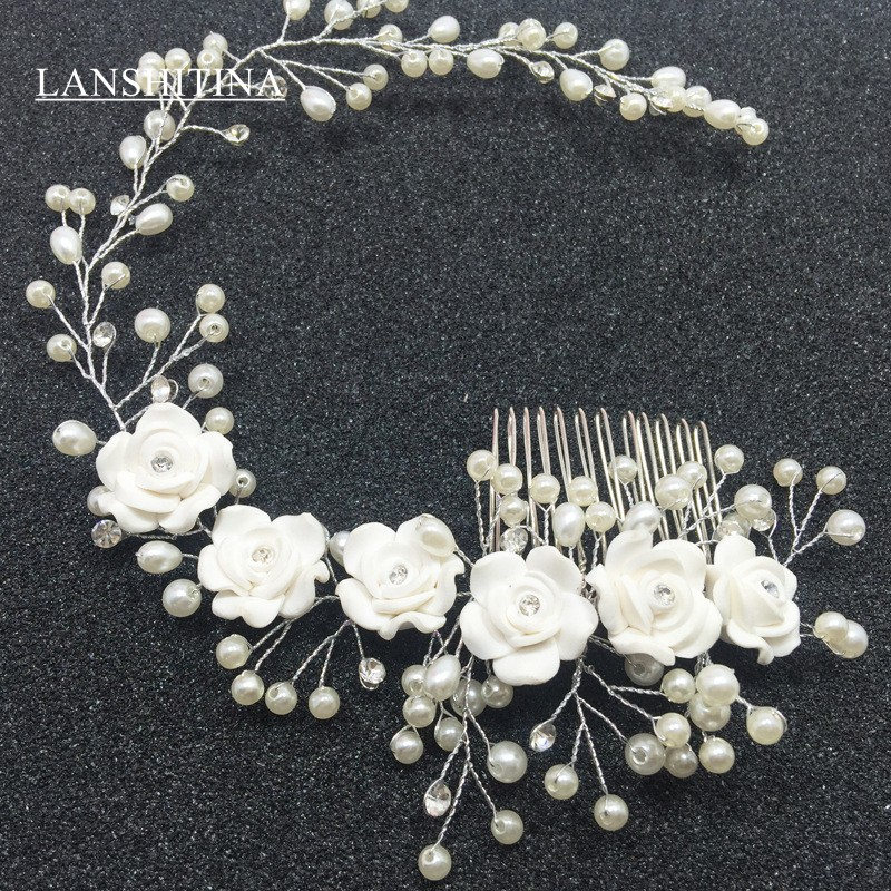LANSHITINA Bride Handmade Flower Pearl Crystal Hairpin Pin Clevis Wedding Headdress CT11 Bride Accessory In Stock Head Piece