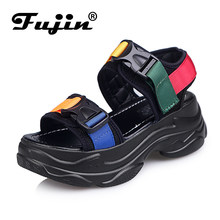 Fujin Brand March New Women Casual Fashion Platform Sandals High Quality Sandals Slope and Open-toed Pine Cake Shoes(China)