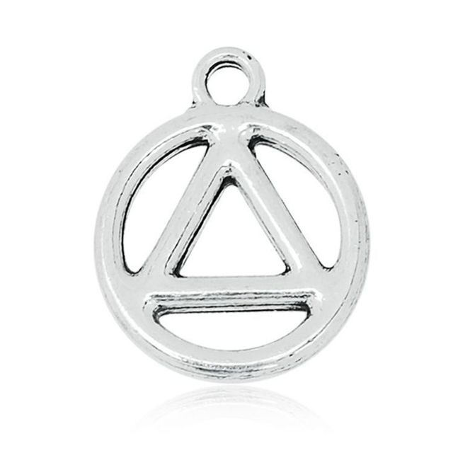 Antique Silver Recovery Symbol Charm With Ear Metal Sobriety Circle