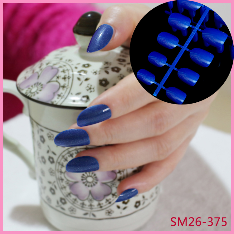 24Pcs Fake False Nails Glitter Diamond Blue Fashion Lady Nail Full Nail Tips Carnival Style 375X