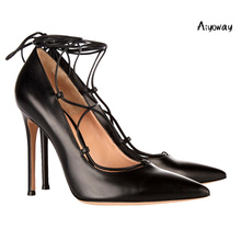 Aiyoway Women Shoes Lady Pointed Toe High Heels Pumps Lace Up Ankle Strap Black Autumn Spring Sexy Wedding Party Shoes Big Size