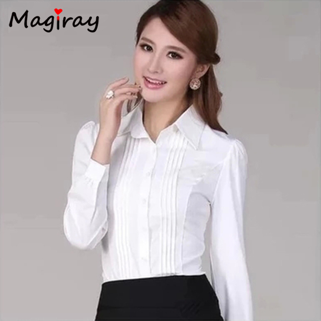9ec00ff059 5xl plus size blusa feminina 2019 plissada frente chemise femme manga sopro  senhoras escritório camisa branca