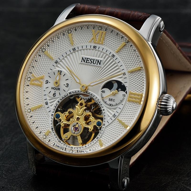 Suisse Nesun creux Tourbillon montre hommes de luxe marque automatique mécanique montres pour hommes saphir étanche horloge N9091 1-in Montres mécaniques from Montres    1