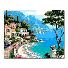 Blue Sea And Mountain Landscape Picture By Numbers DIY House Painting Kits Hand paited On Linen Canvas Home Decor Unique Gift
