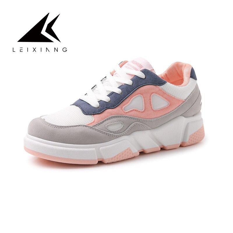 2018 Women Sport Shoes Spring Summer Comfortable Breathable Mesh Flats Female Platform Walking Shoes Woman Krasovki Feminino