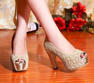 Image 2 - Sapato Feminino Big Size High Heels Shoes Women Pumps Ladies Chaussure Femme Talon Zapatos Mujer Tacones Sapatos Femininos F12