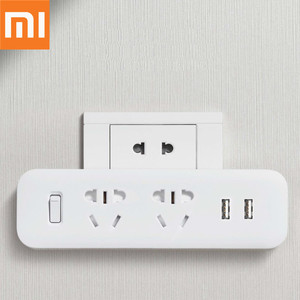 Image 1 - Original Xiaomi Mijia Power Strip Converter Portable Plug 2 USB Travel Adapter Electric Wall AC 5V 2.1A 2 Sockets Fast Charging