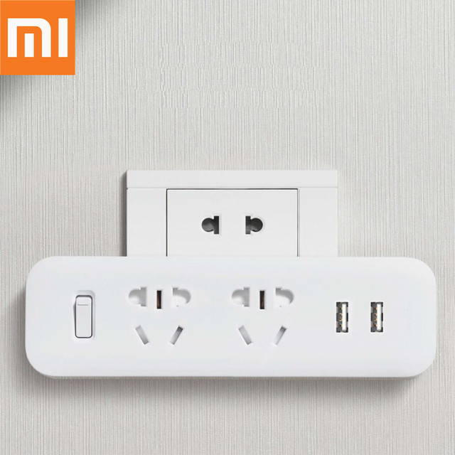 Original Xiaomi Mijia Power Strip Converter Portable Plug 2 USB Travel Adapter Electric Wall AC 5V 2.1A 2 Sockets Fast Charging