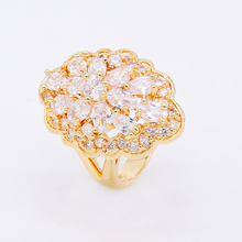 Classic 18K white gold plated platinum plated White Big flower design finger rings with gift box or bag pack jewelry ZM20W