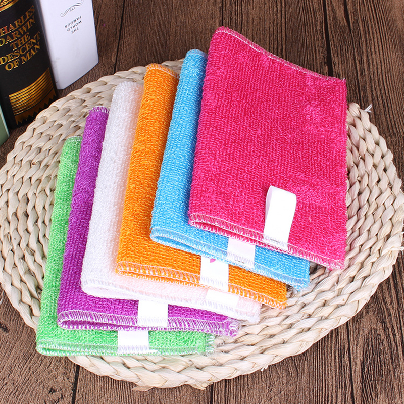 5/10 Pcs Kitchen Anti-grease wipping rags efficient Bamboo Fiber Cleaning Cloth home washing dish Multifunctional Cleaning Tools(China)
