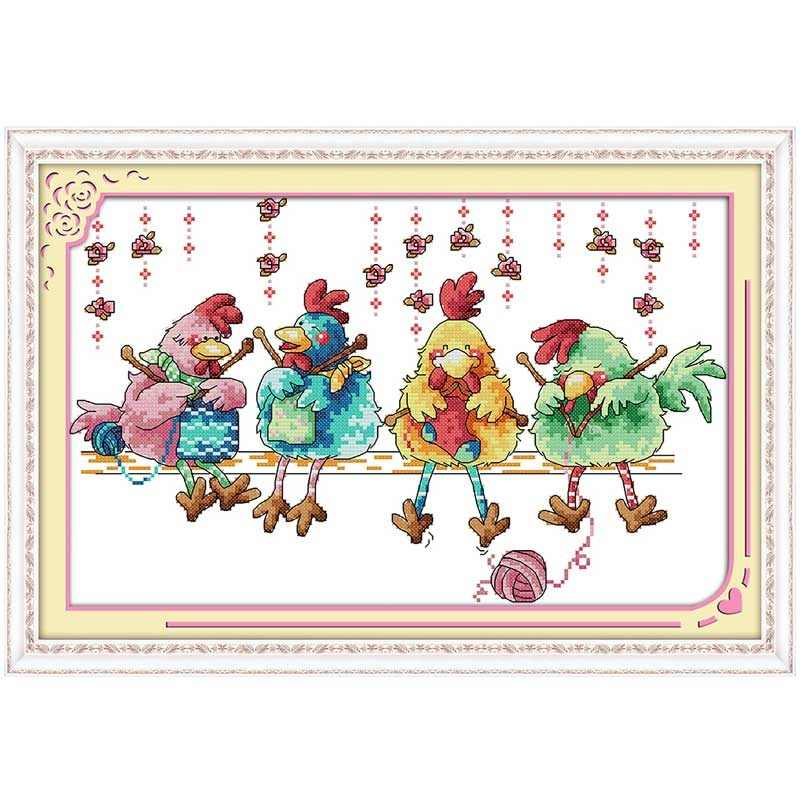 The chicken knitting a sweater Counted Cross Stitch 11CT 14CT Cross Stitch Set Wholesale Cross-stitch Kit Embroidery Needlework