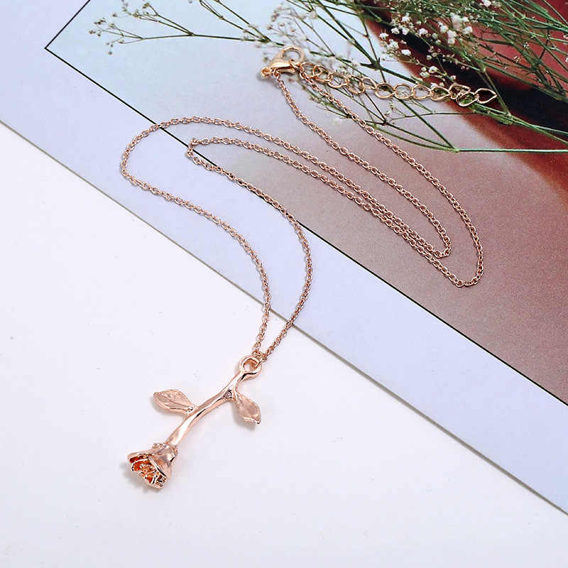 M MISM 2019 Women Necklace Pendant Fashion Style Rose Shape Alloy Material Chain Brief Adjustable Luxury High Quality Jewelry